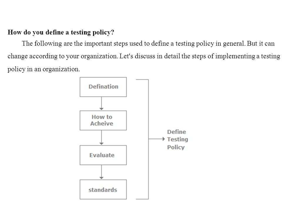 How do you define a testing policy.