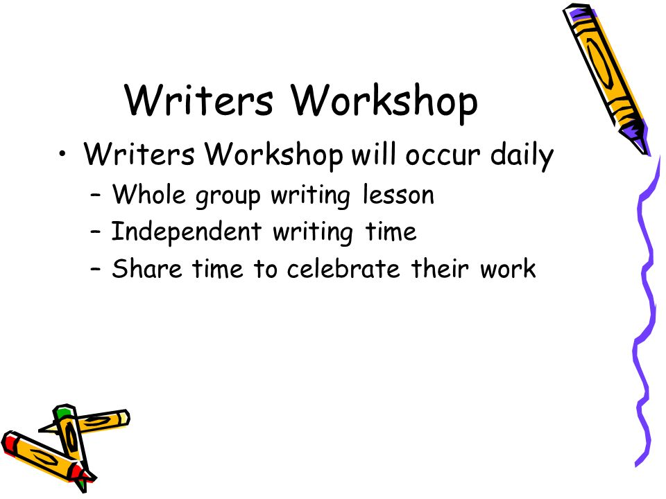 Writers Workshop Writers Workshop will occur daily –Whole group writing lesson –Independent writing time –Share time to celebrate their work