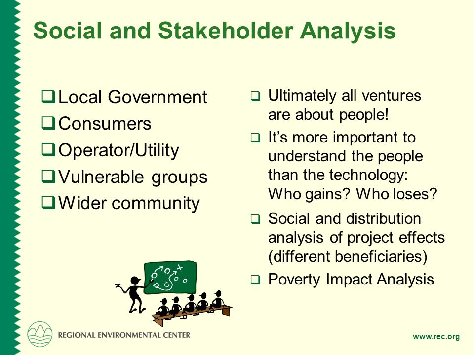 Social and Stakeholder Analysis  Local Government  Consumers  Operator/Utility  Vulnerable groups  Wider community  Ultimately all ventures are about people.
