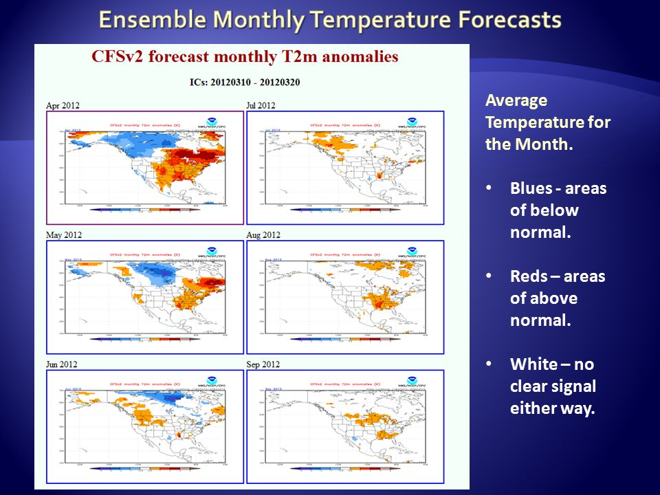 Average Temperature for the Month. Blues - areas of below normal.