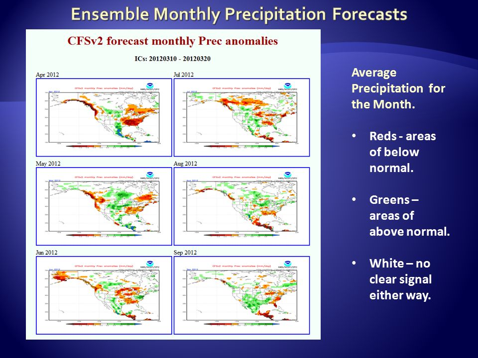 Average Precipitation for the Month. Reds - areas of below normal.
