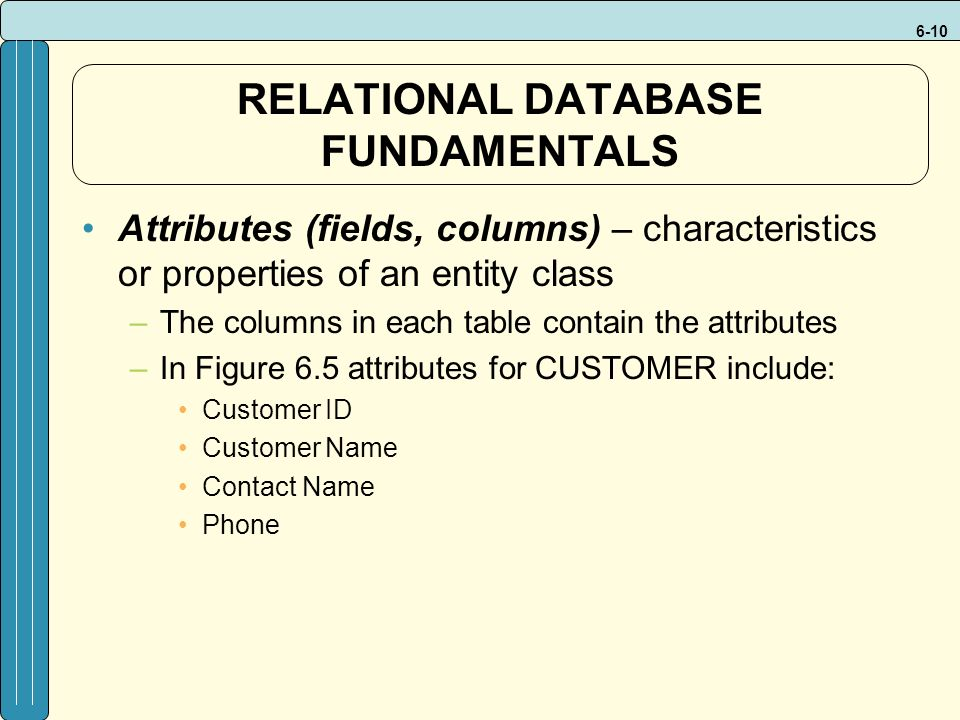 6-10 Attributes (fields, columns) – characteristics or properties of an entity class –The columns in each table contain the attributes –In Figure 6.5 attributes for CUSTOMER include: Customer ID Customer Name Contact Name Phone RELATIONAL DATABASE FUNDAMENTALS