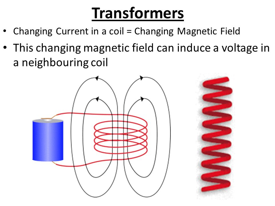 Transformers Changing Current in a coil = Changing Magnetic Field This changing magnetic field can induce a voltage in a neighbouring coil