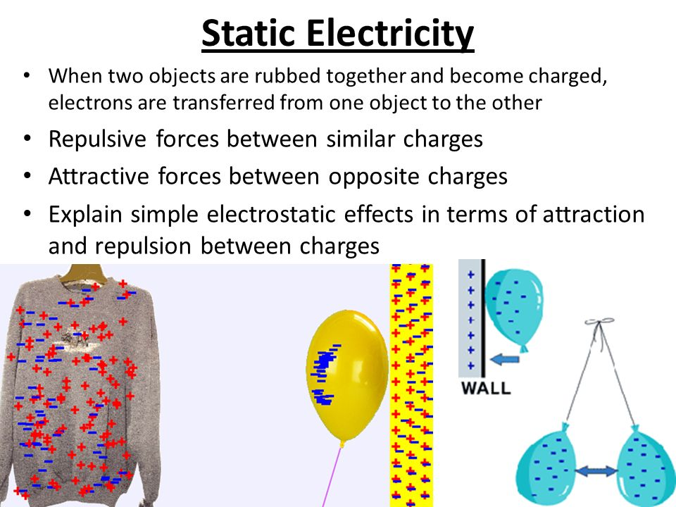 Static Electricity When two objects are rubbed together and become charged, electrons are transferred from one object to the other Repulsive forces between similar charges Attractive forces between opposite charges Explain simple electrostatic effects in terms of attraction and repulsion between charges