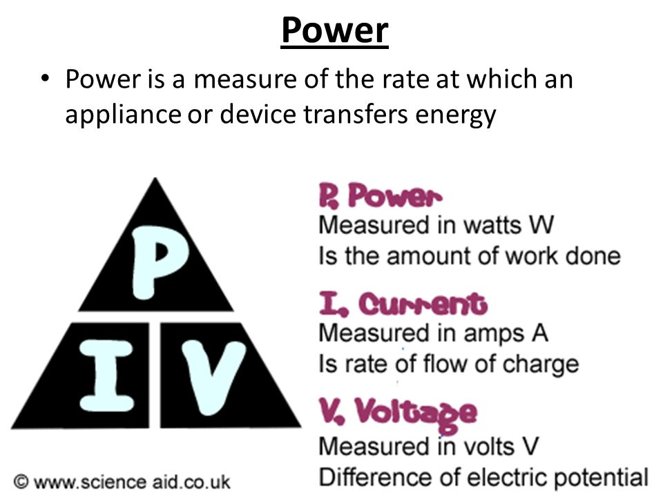 Power Power is a measure of the rate at which an appliance or device transfers energy