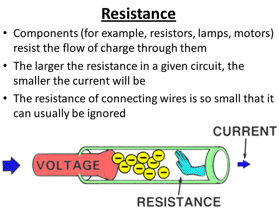 Resistance Components (for example, resistors, lamps, motors) resist the flow of charge through them The larger the resistance in a given circuit, the smaller the current will be The resistance of connecting wires is so small that it can usually be ignored