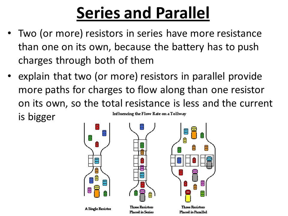 Series and Parallel Two (or more) resistors in series have more resistance than one on its own, because the battery has to push charges through both of them explain that two (or more) resistors in parallel provide more paths for charges to flow along than one resistor on its own, so the total resistance is less and the current is bigger
