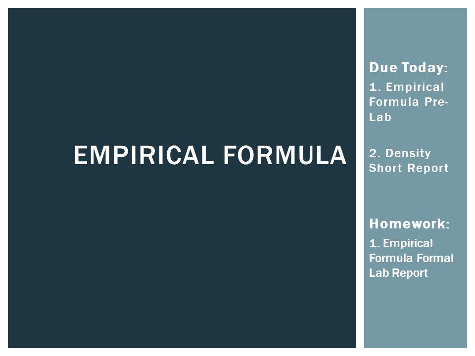lab report of empirical formulas