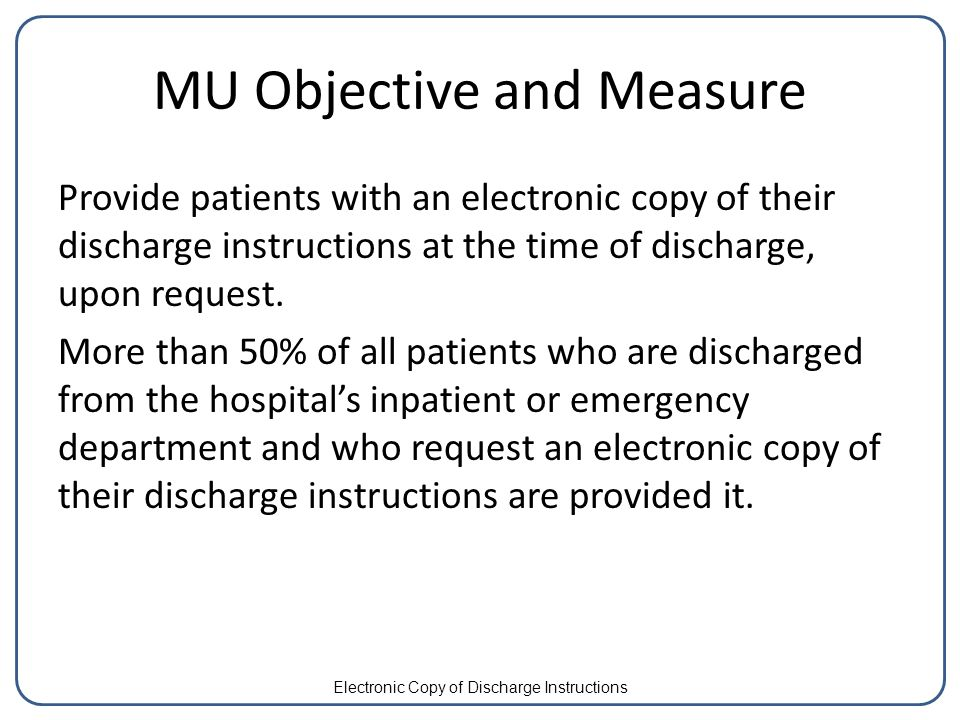 Electronic copy of discharge instructions configuring rpms ehr for mu objective and measure provide patients with an electronic copy of their discharge instructions at the thecheapjerseys Image collections