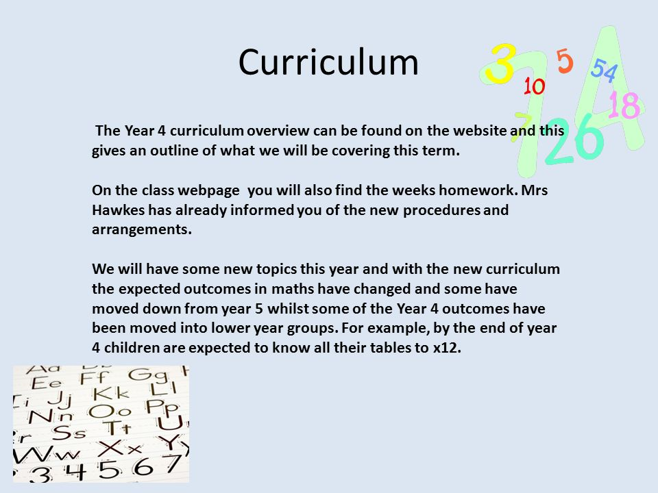 Curriculum The Year 4 curriculum overview can be found on the website and this gives an outline of what we will be covering this term.