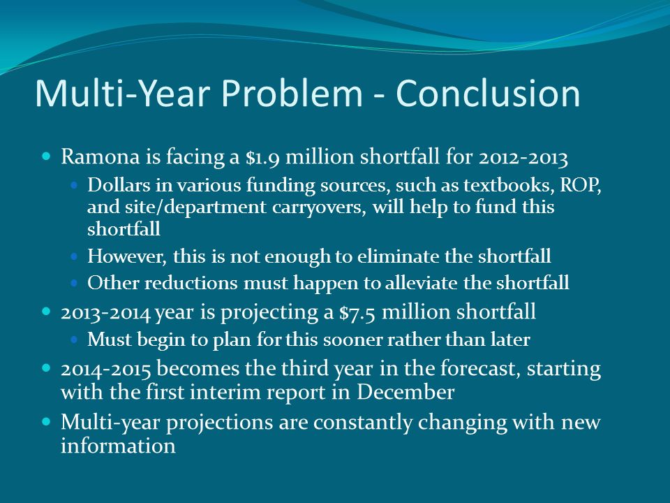Multi-Year Problem - Conclusion Ramona is facing a $1.9 million shortfall for Dollars in various funding sources, such as textbooks, ROP, and site/department carryovers, will help to fund this shortfall However, this is not enough to eliminate the shortfall Other reductions must happen to alleviate the shortfall year is projecting a $7.5 million shortfall Must begin to plan for this sooner rather than later becomes the third year in the forecast, starting with the first interim report in December Multi-year projections are constantly changing with new information