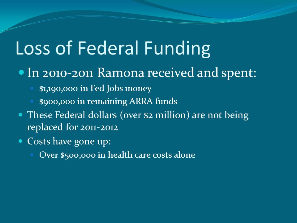 Loss of Federal Funding In Ramona received and spent: $1,190,000 in Fed Jobs money $900,000 in remaining ARRA funds These Federal dollars (over $2 million) are not being replaced for Costs have gone up: Over $500,000 in health care costs alone