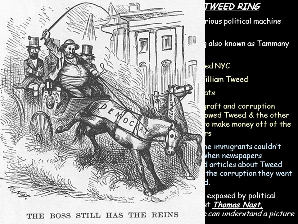 TWEED RING -most notorious political machine was: Tweed Ring also known as Tammany Hall -controlled NYC -Boss: William Tweed -Democrats -lots of graft and corruption which allowed Tweed & the other leaders to make money off of the tax payers -many of the immigrants couldn't read so when newspapers published articles about Tweed Ring and the corruption they went unnoticed.