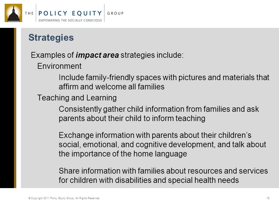 Strategies © Copyright 2011 Policy Equity Group.