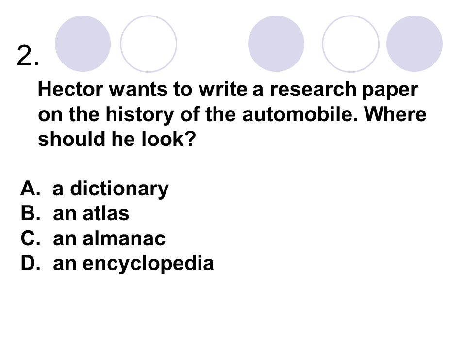 2. Hector wants to write a research paper on the history of the automobile.