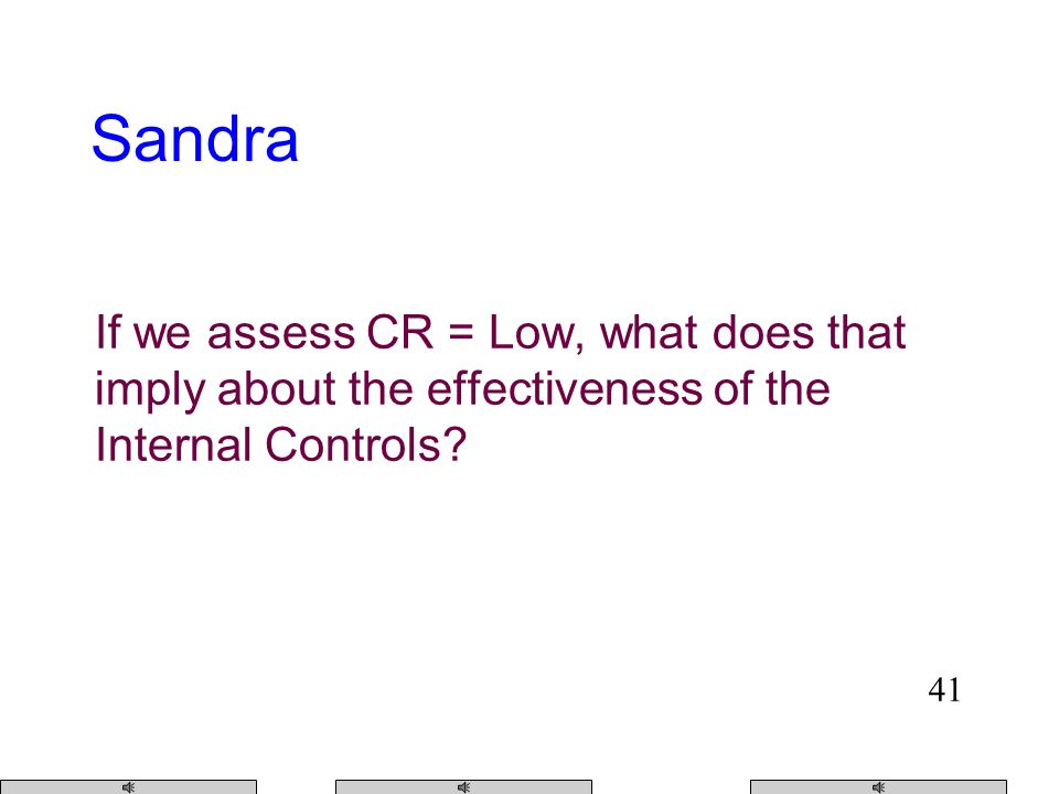 40 If we assess CR = Max, what does that imply about the effectiveness of the Internal Controls.