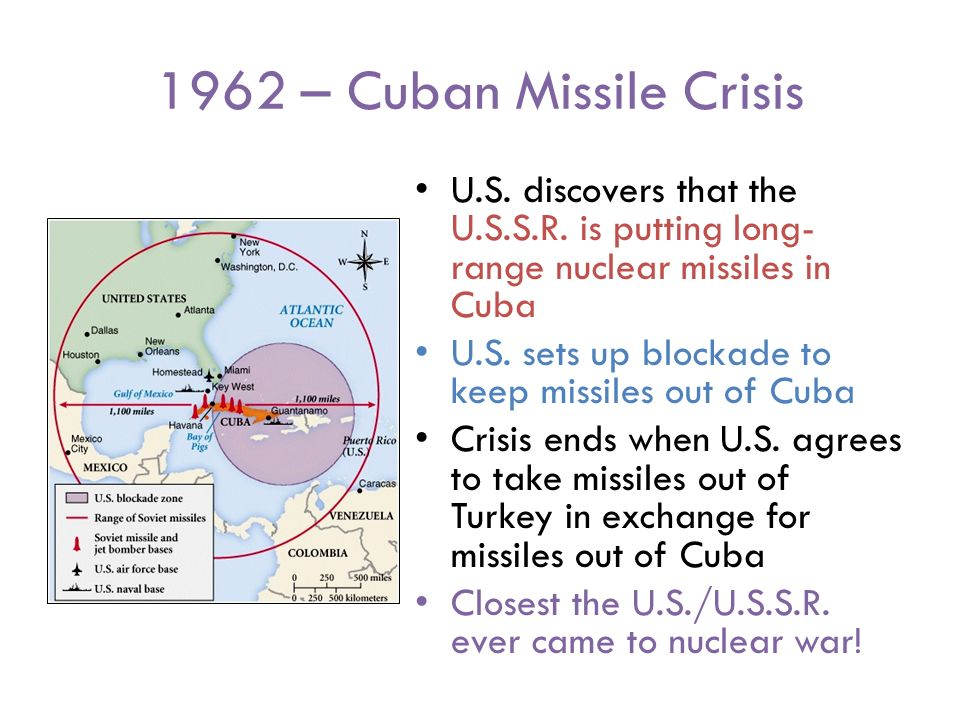 1962 – Cuban Missile Crisis U.S. discovers that the U.S.S.R.