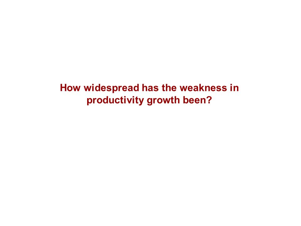 How widespread has the weakness in productivity growth been