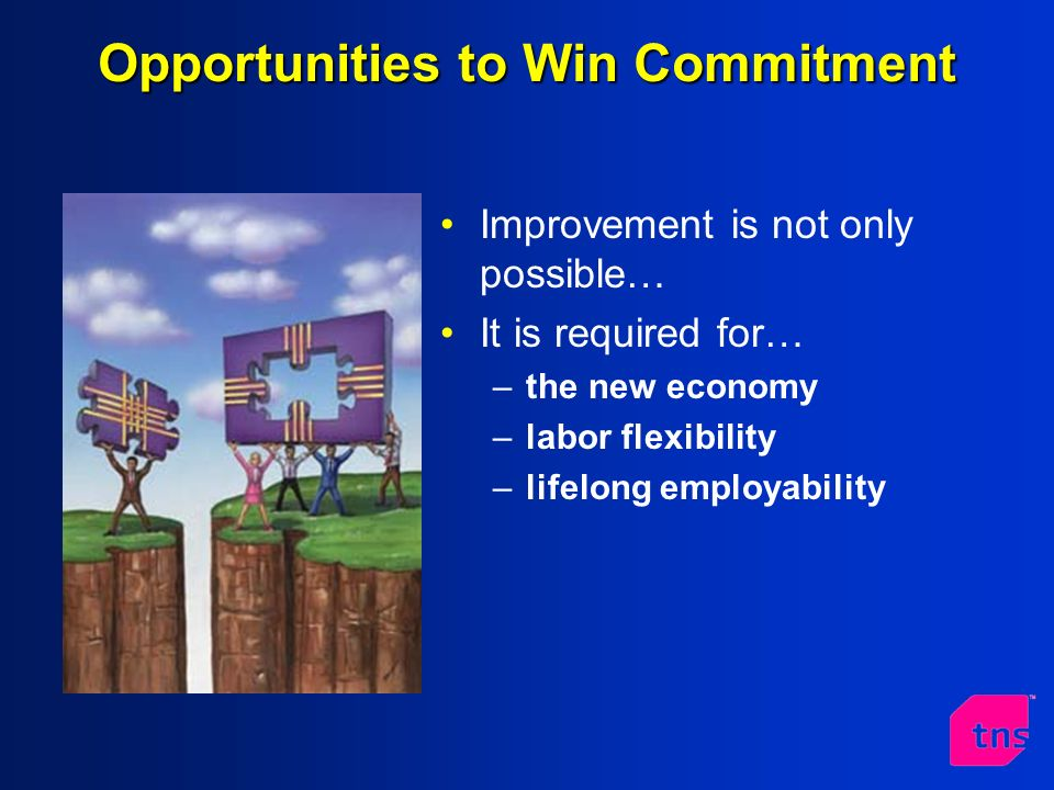 Opportunities to Win Commitment Improvement is not only possible… It is required for… –the new economy –labor flexibility –lifelong employability
