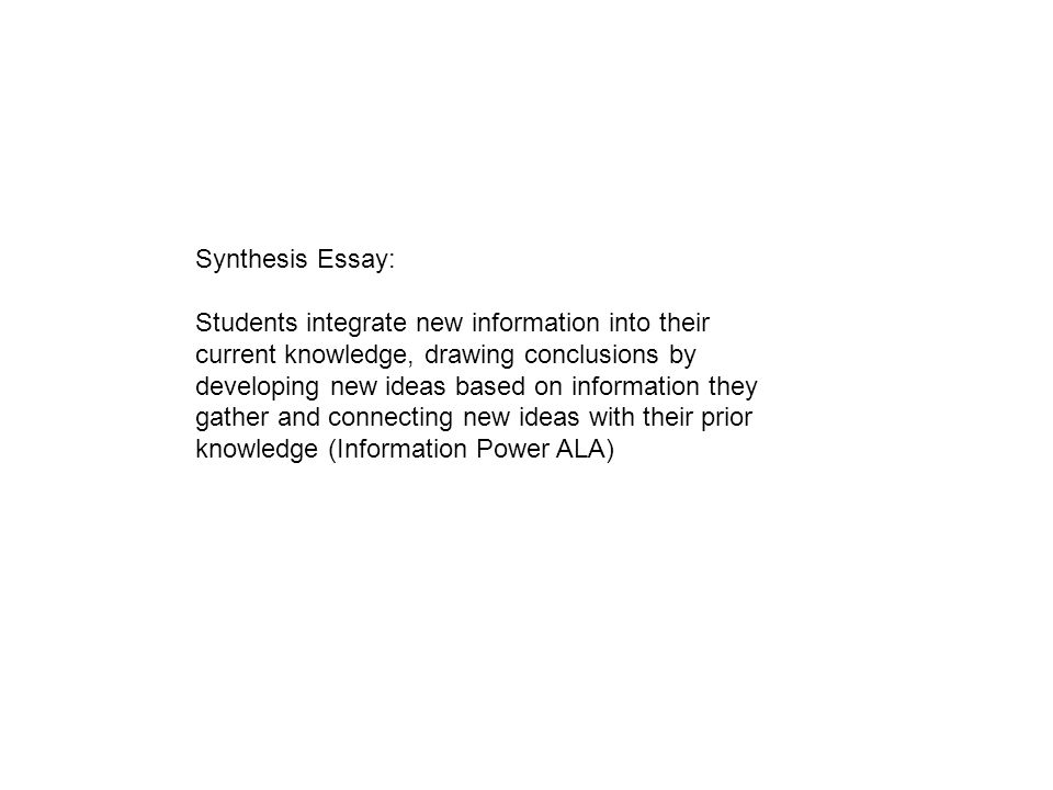 synthesis essay question exploration guide contents a visual map  5 synthesis essay students integrate new information into their current knowledge drawing conclusions by developing new ideas based on information they