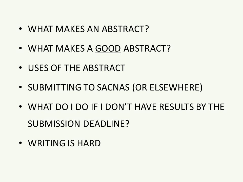 What is abstract when writing research?