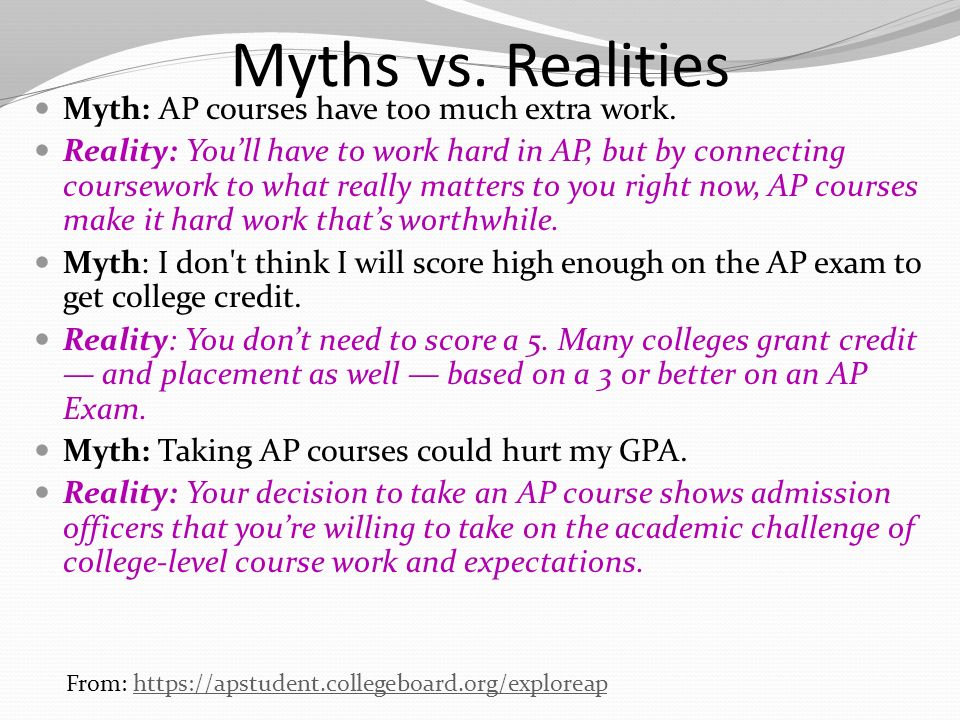 Myths vs. Realities Myth: AP courses have too much extra work.