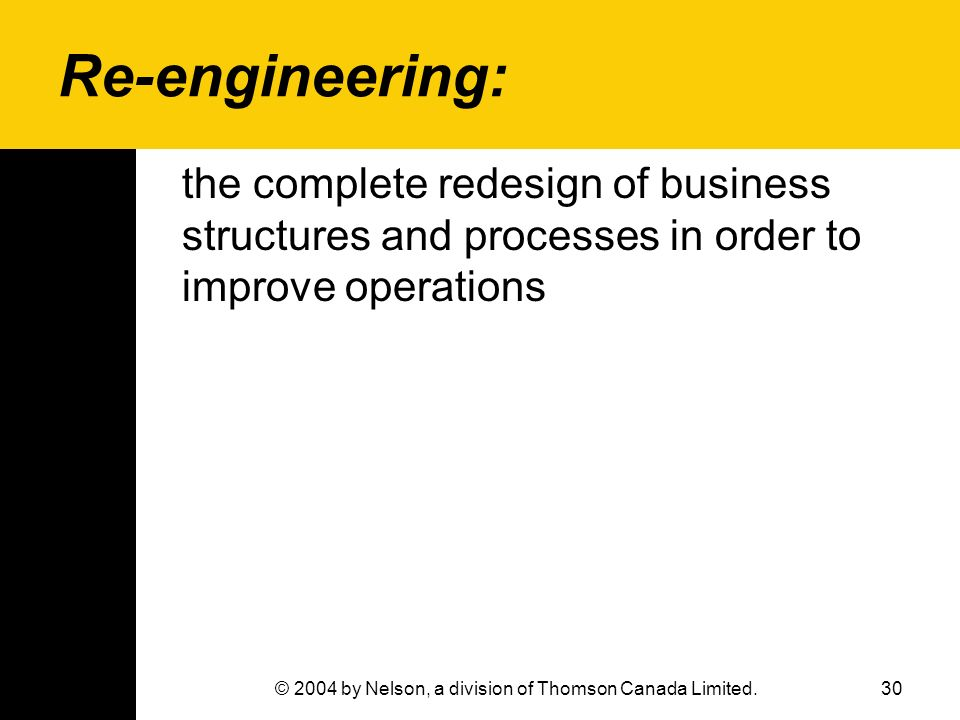 30© 2004 by Nelson, a division of Thomson Canada Limited. Re-engineering: the complete redesign of business structures and processes in order to impro