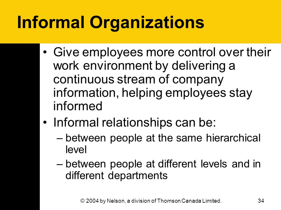 34© 2004 by Nelson, a division of Thomson Canada Limited. Informal Organizations Give employees more control over their work environment by delivering