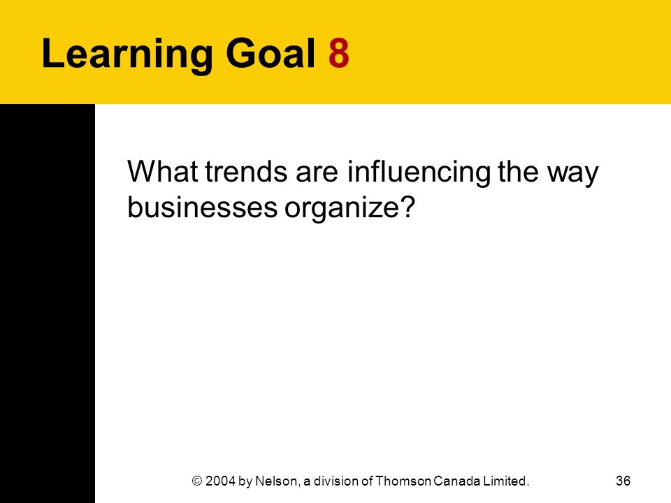 36© 2004 by Nelson, a division of Thomson Canada Limited. Learning Goal 8 What trends are influencing the way businesses organize?