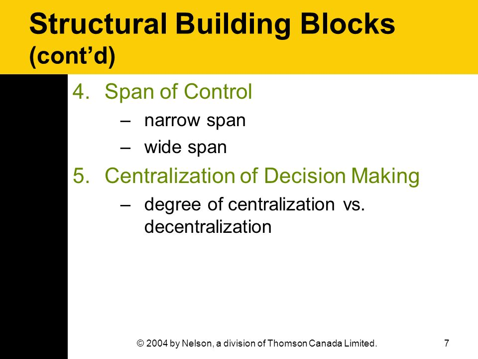 7© 2004 by Nelson, a division of Thomson Canada Limited. Structural Building Blocks (cont'd) 4.Span of Control –narrow span –wide span 5.Centralizatio