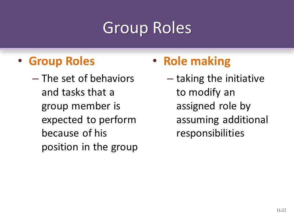 Group Roles – The set of behaviors and tasks that a group member is expected to perform because of his position in the group Role making – taking the