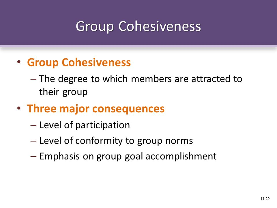 Group Cohesiveness – The degree to which members are attracted to their group Three major consequences – Level of participation – Level of conformity