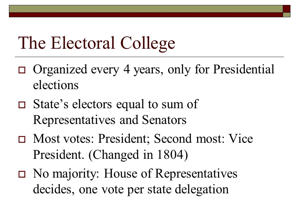 The Electoral College  Organized every 4 years, only for Presidential elections  State's electors equal to sum of Representatives and Senators  Most votes: President; Second most: Vice President.