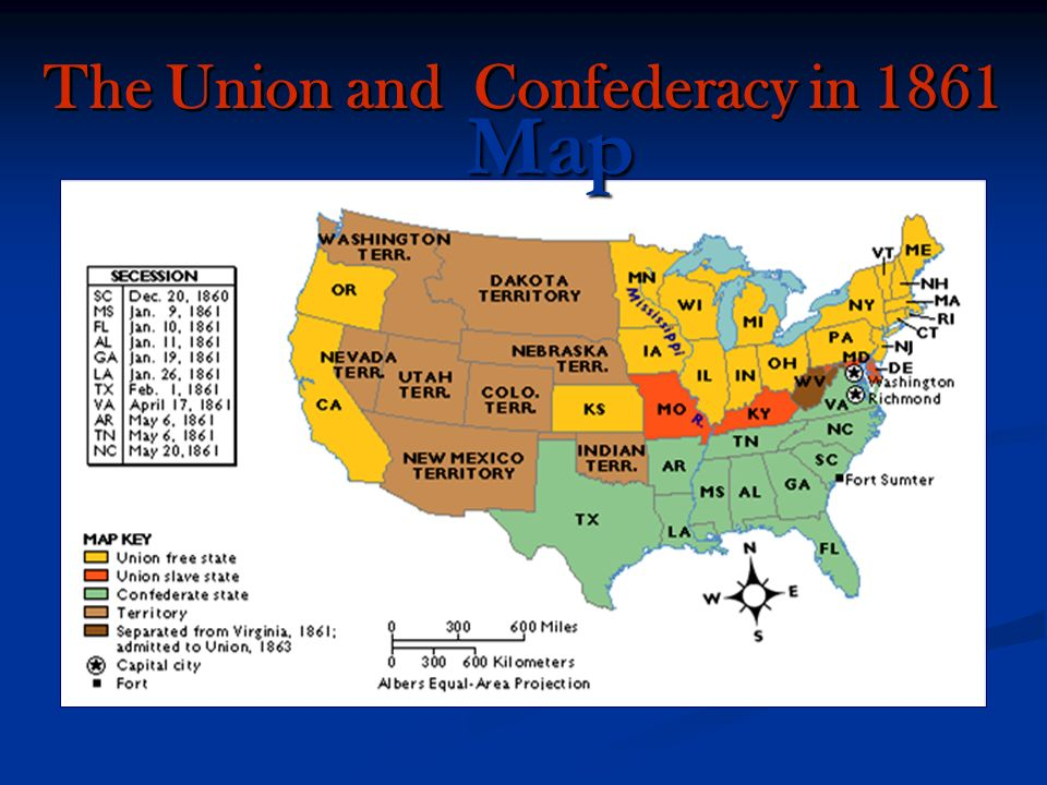 War Between The States APUSH MCELHANEY Ppt Download - Map of us confederate and union states 1860