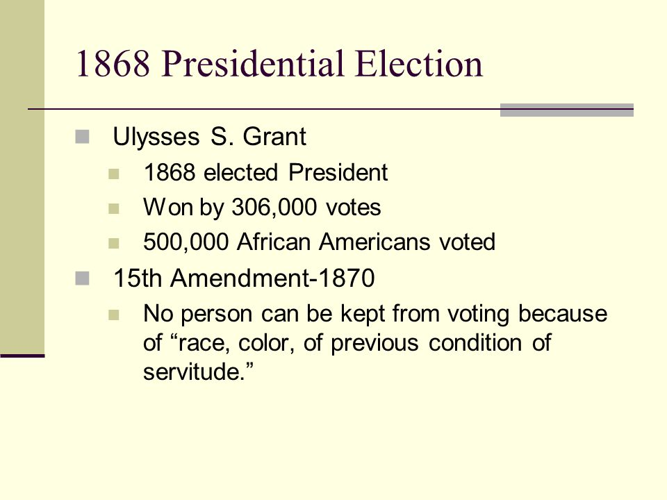 1868 Presidential Election Ulysses S.