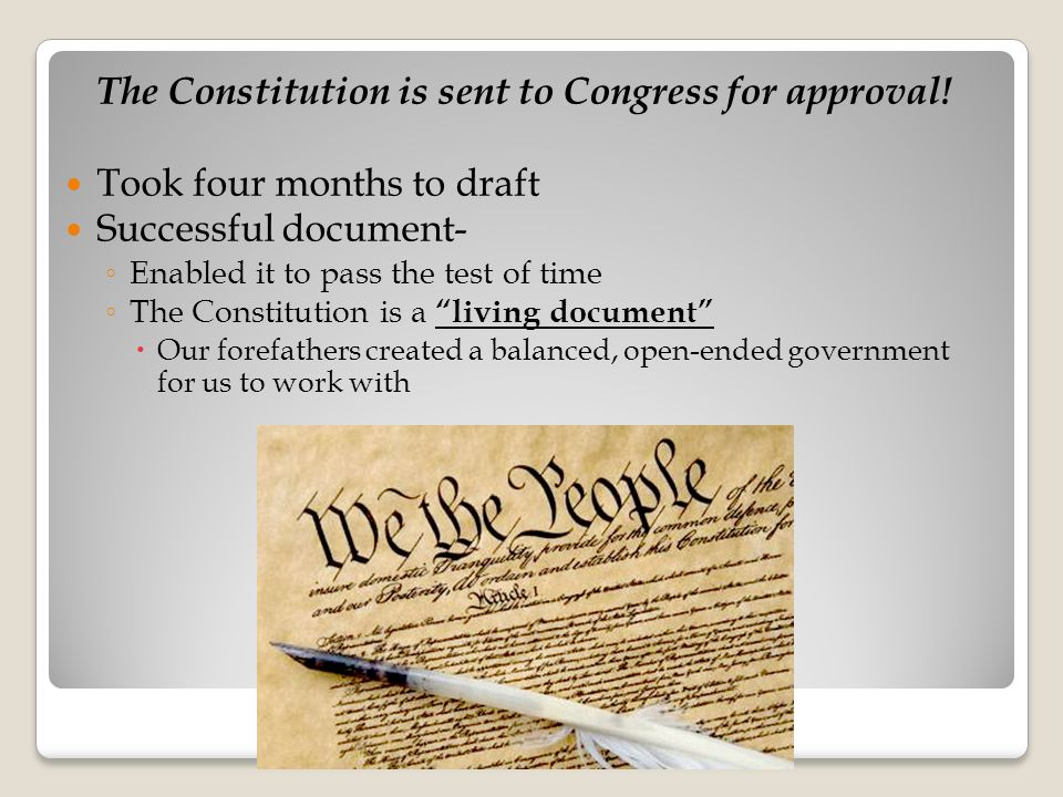 The Constitution is sent to Congress for approval.