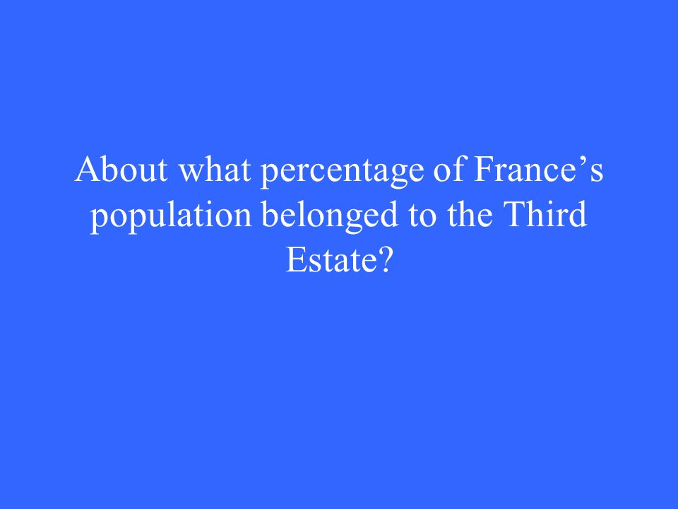 About what percentage of France's population belonged to the Third Estate