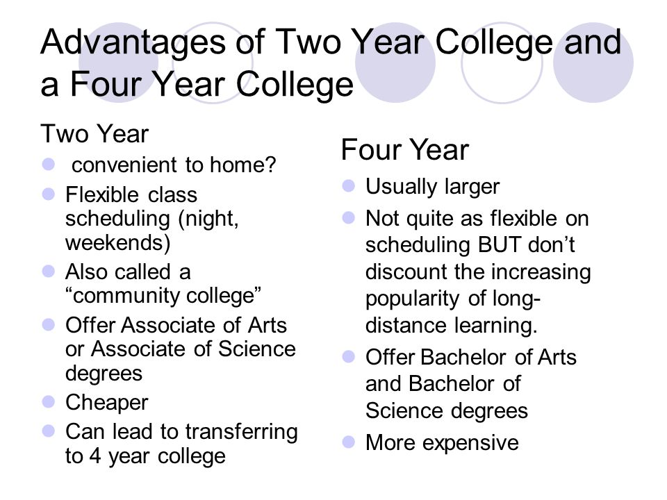 Advantages of Two Year College and a Four Year College Two Year convenient to home.