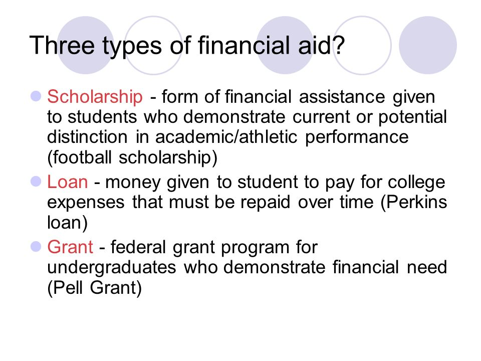 Three types of financial aid.