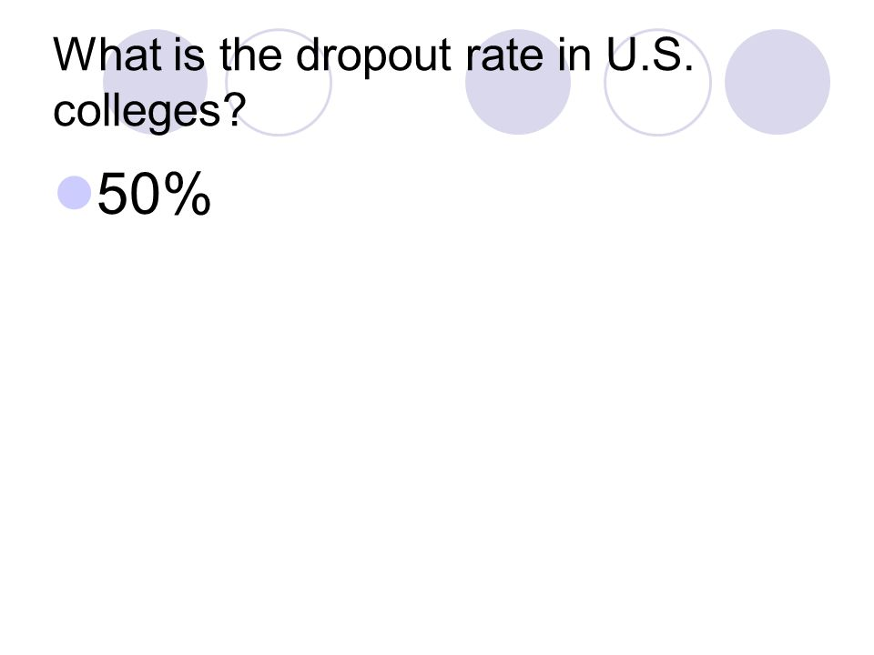 What is the dropout rate in U.S. colleges 50%