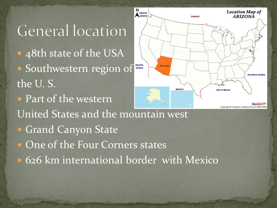 48th state of the USA Southwestern region of the U S Part of the