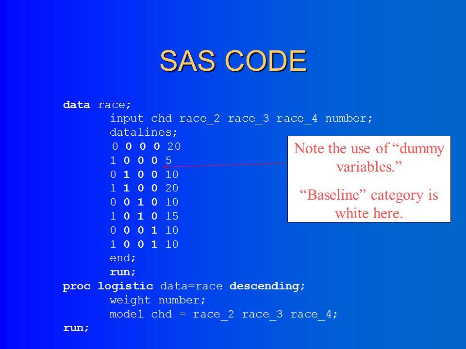 Example 2: >2 exposure levels *(dummy coding) CHD status WhiteBlackHispanicOther Present5201510 Absent2010 (From Hosmer and Lemeshow)