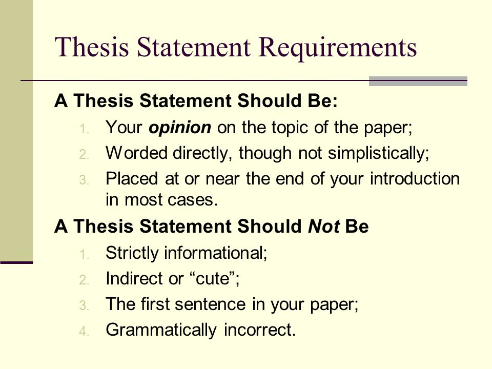 Thesis staements