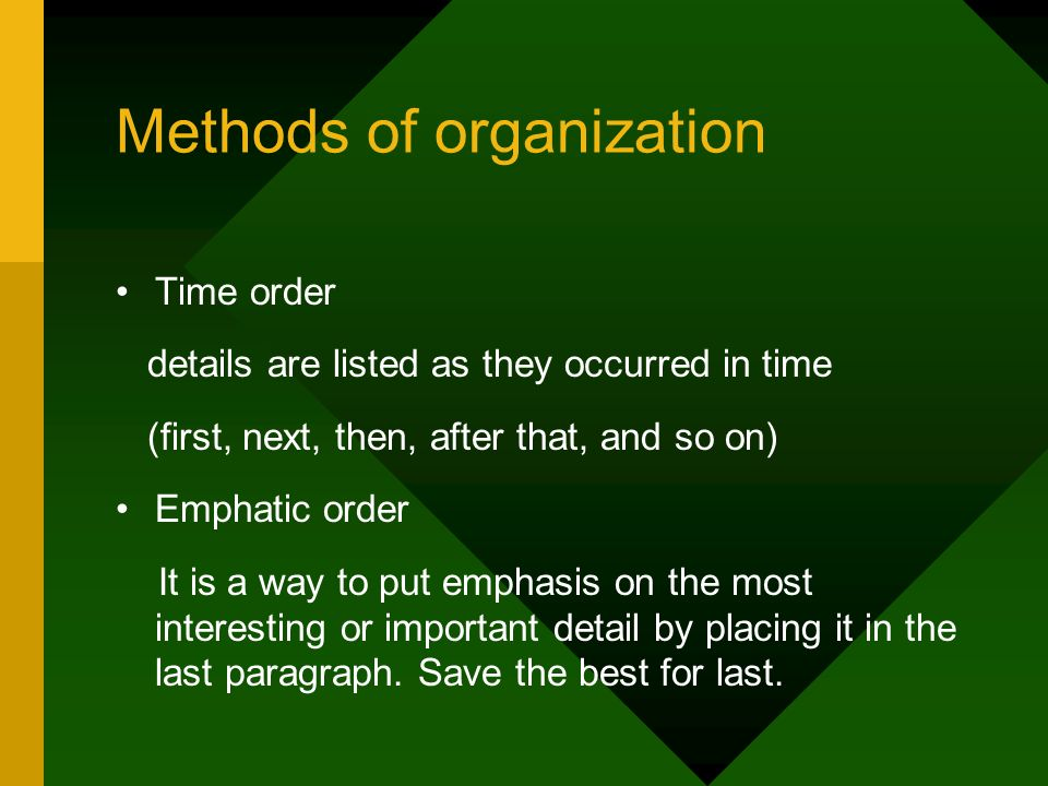 order of essay paragraphs A chronological paragraph is one that shows a sequence of events in the order they occurred your goal is to convey a clear sequence through time, and to do that you will have to use transitional words (first, next, then, finally, as soon as, subsequently, etc) look in a word write now on pages 8.