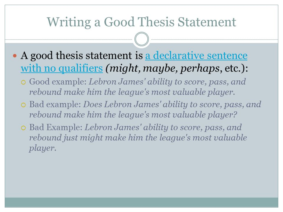 writing a good thesis sentence This resource provides tips for creating a thesis statement and examples of different types of thesis statements welcome to tips for writing your thesis.