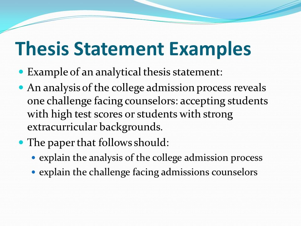 Analytical Essay Thesis Example Personal Essay Thesis Statement