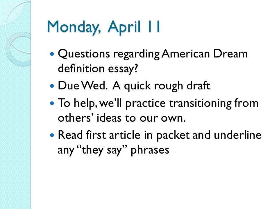 essay questions about the american dream Need writing essay about american dream order your personal college paper and have a+ grades or get access to database of 943 american dream everybody has a concept of the american dream merriam-webster's definition is an american social ideal that stresses egalitarianism and.
