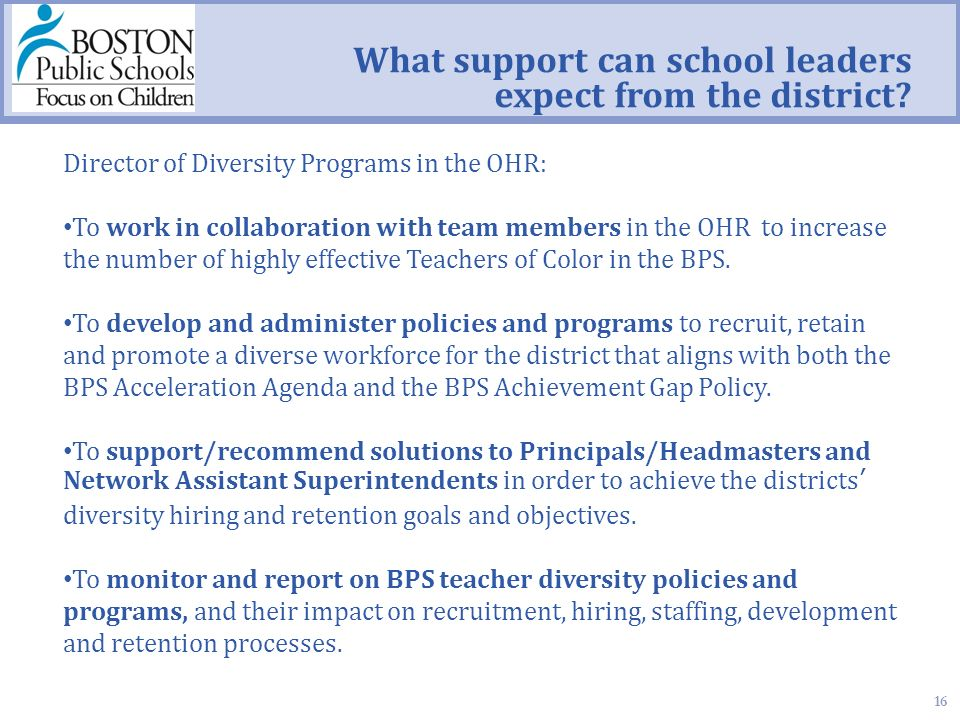16 What support can school leaders expect from the district.