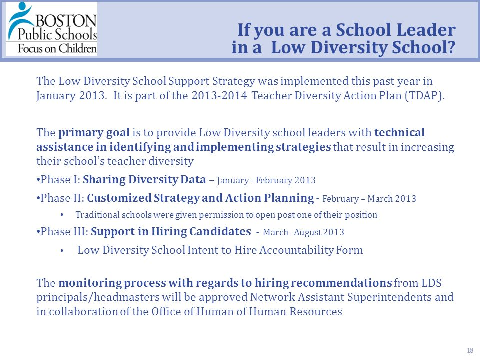 18 If you are a School Leader in a Low Diversity School.