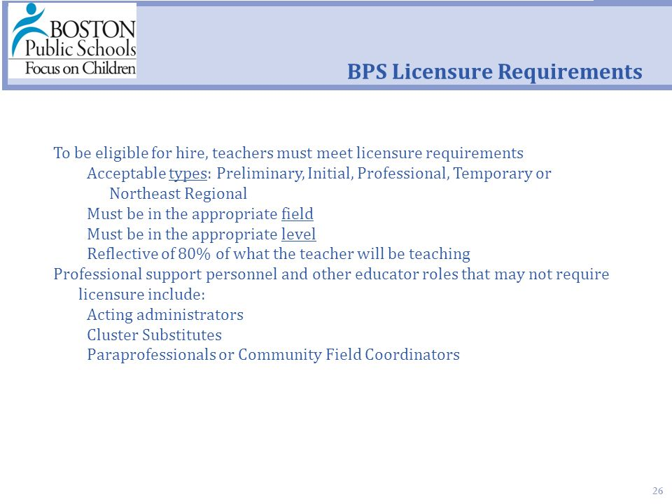 26 BPS Licensure Requirements To be eligible for hire, teachers must meet licensure requirements Acceptable types: Preliminary, Initial, Professional, Temporary or Northeast Regional Must be in the appropriate field Must be in the appropriate level Reflective of 80% of what the teacher will be teaching Professional support personnel and other educator roles that may not require licensure include: Acting administrators Cluster Substitutes Paraprofessionals or Community Field Coordinators